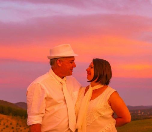 Me with my fiance, Neil, at Diner en Blanc at the National Arboretum, Canberra