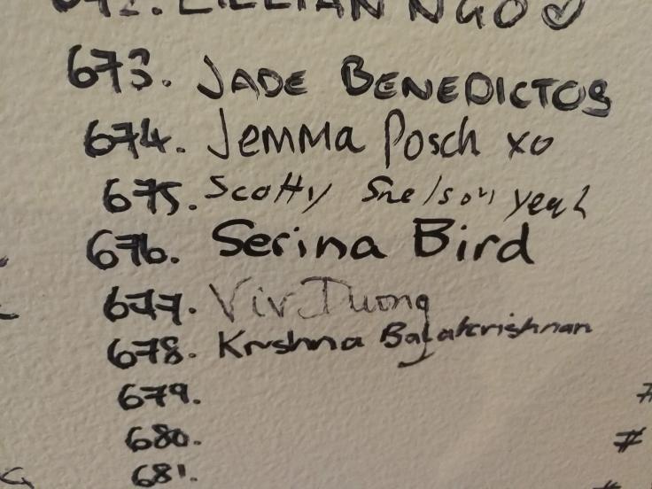 Serina signs Jackie Chan wall